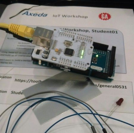 Arduino rapid-prototyping device at Axeda's IoT workshop